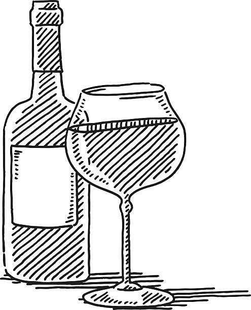 Red Wine Glass Bottle Drawing Hand-drawn vector drawing of a Red Wine Glass and a Wine Bottle. Black-and-White sketch on a transparent background (.eps-file). Included files are EPS (v10) and Hi-Res JPG. celebration stock illustrations