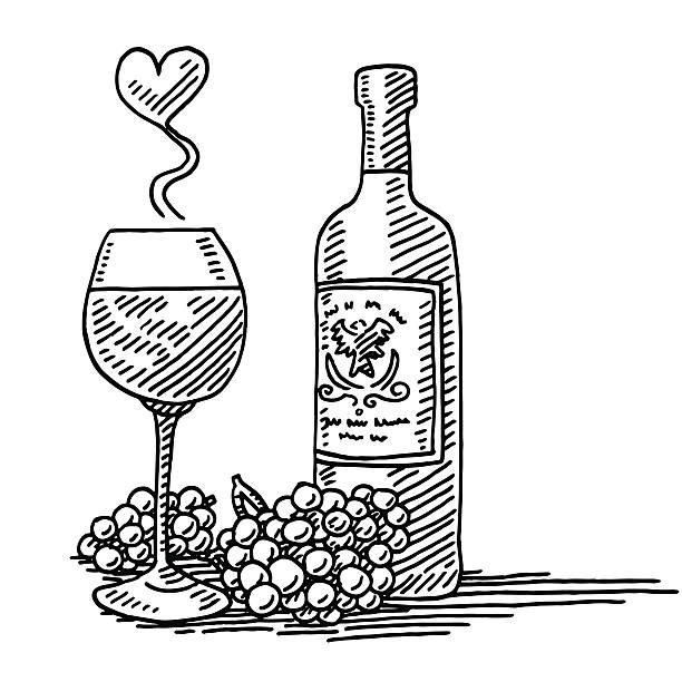Red Wine Glass Bottle Grapes Love Drawing Hand-drawn vector drawing of a Glass and a Bottle of Red Wine, and Grapes. A tasty Love Heart appears over the glass. The label on the bottle is generic. Black-and-White sketch on a transparent background (.eps-file). Included files are EPS (v10) and Hi-Res JPG. celebration stock illustrations