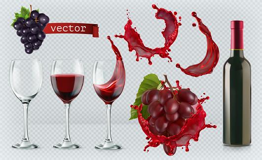 Red wine. Glasses, bottle, splash, grapes. 3d realistic vector icon set