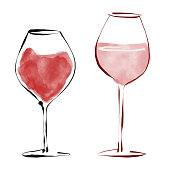 Vector illustration of a pair of red wine drinking glasses in a pencil drawing style