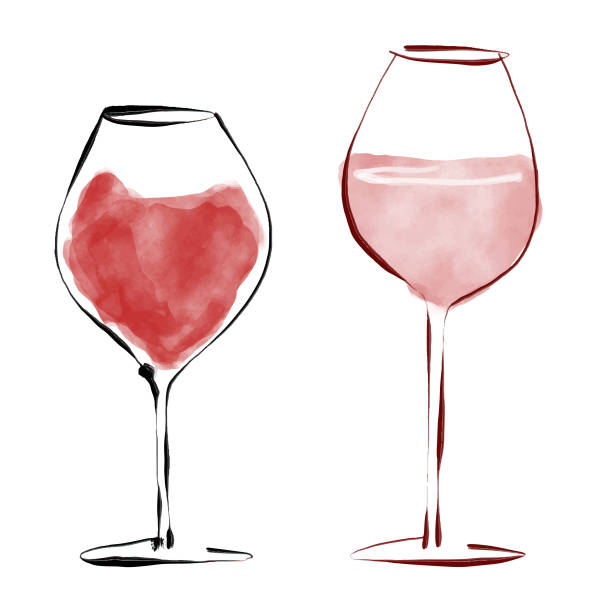 Red wine glasses Vector illustration of a pair of red wine drinking glasses in a pencil drawing style wine stock illustrations