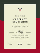 Red wine labels. Vector premium template set. Clean and modern design. Italy red wine label Cabernet