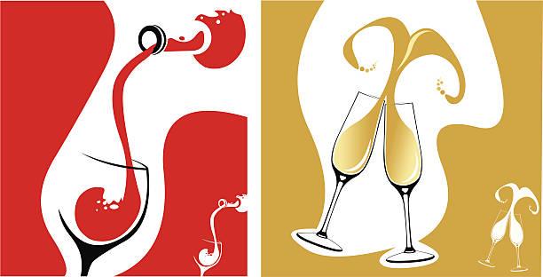 bildbanksillustrationer, clip art samt tecknat material och ikoner med red wine pour and champagne flutes concepts - vitt vin glas