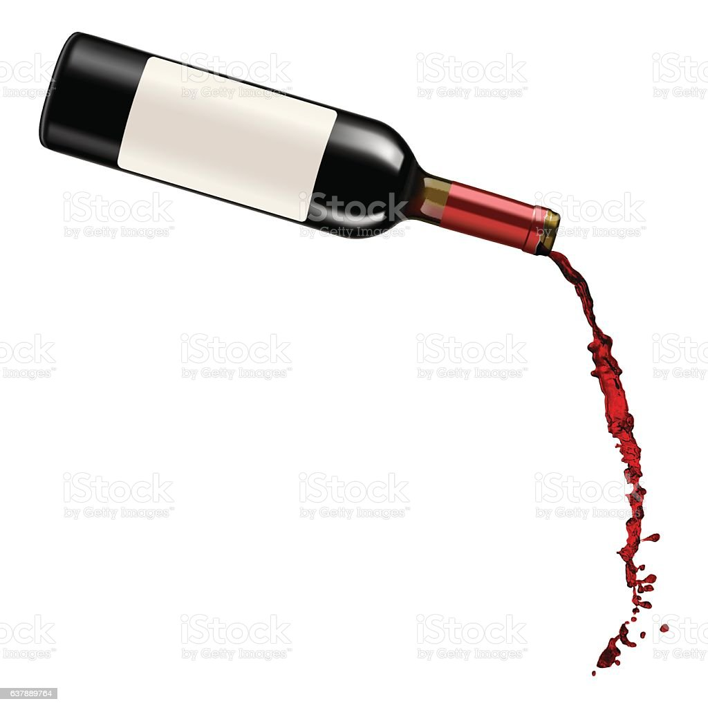 Red Wine Pouring vector art illustration