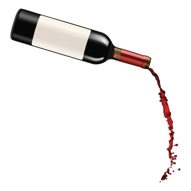 red wine pouring - butelka wina stock illustrations