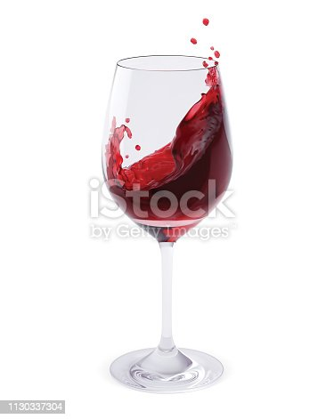 Red Wine Splashing In Glasses isolated on white. Realistic vector 3d illustration