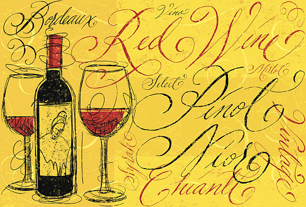 Red Wine A sketchy, red wine bottle with two full wine glasses and names of different types of red wine in hand written calligraphy. The calligraphy, wine bottle with glasses, lightly colored swirl frames, and background are all on separate labeled layers. RETROROCKET stock illustrations