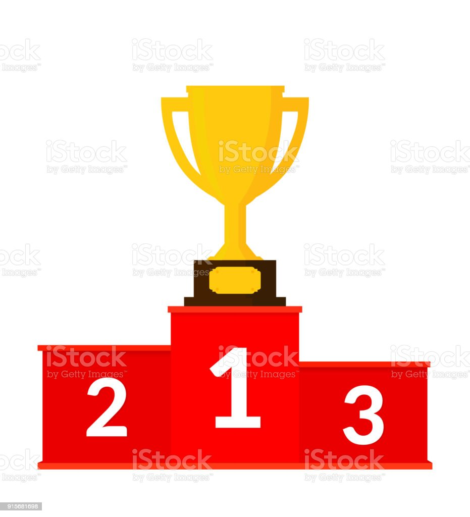 Red Winners Podium with Trophy Cup. Success. Victory. Vector illustration. Flat Design. vector art illustration