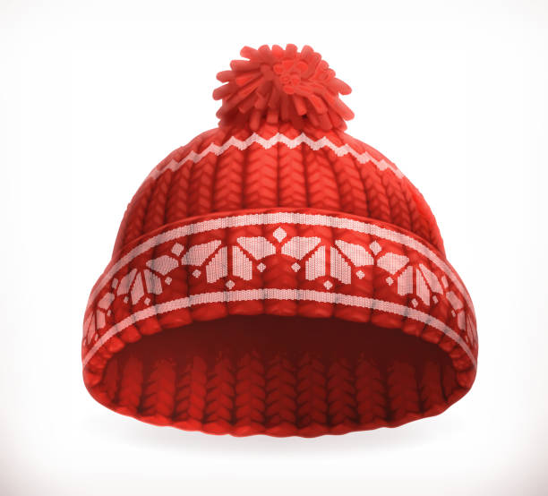 Red winter knitted hat Red winter knitted hat. 3d vector icon knit hat stock illustrations