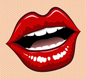 drawn of vector pop art women lips.This file has been used illustrator CS3 EPS10 version feature of multiply.