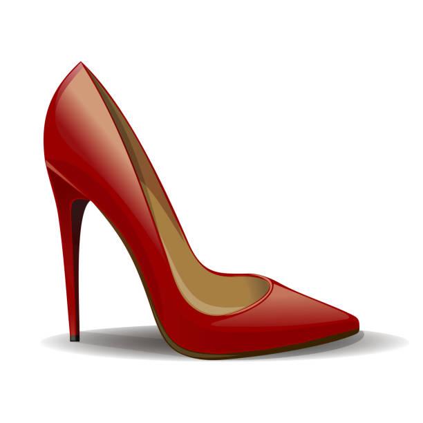 rote frauen schuhe isoliert auf weißer hintergrund - damenmode stock-grafiken, -clipart, -cartoons und -symbole
