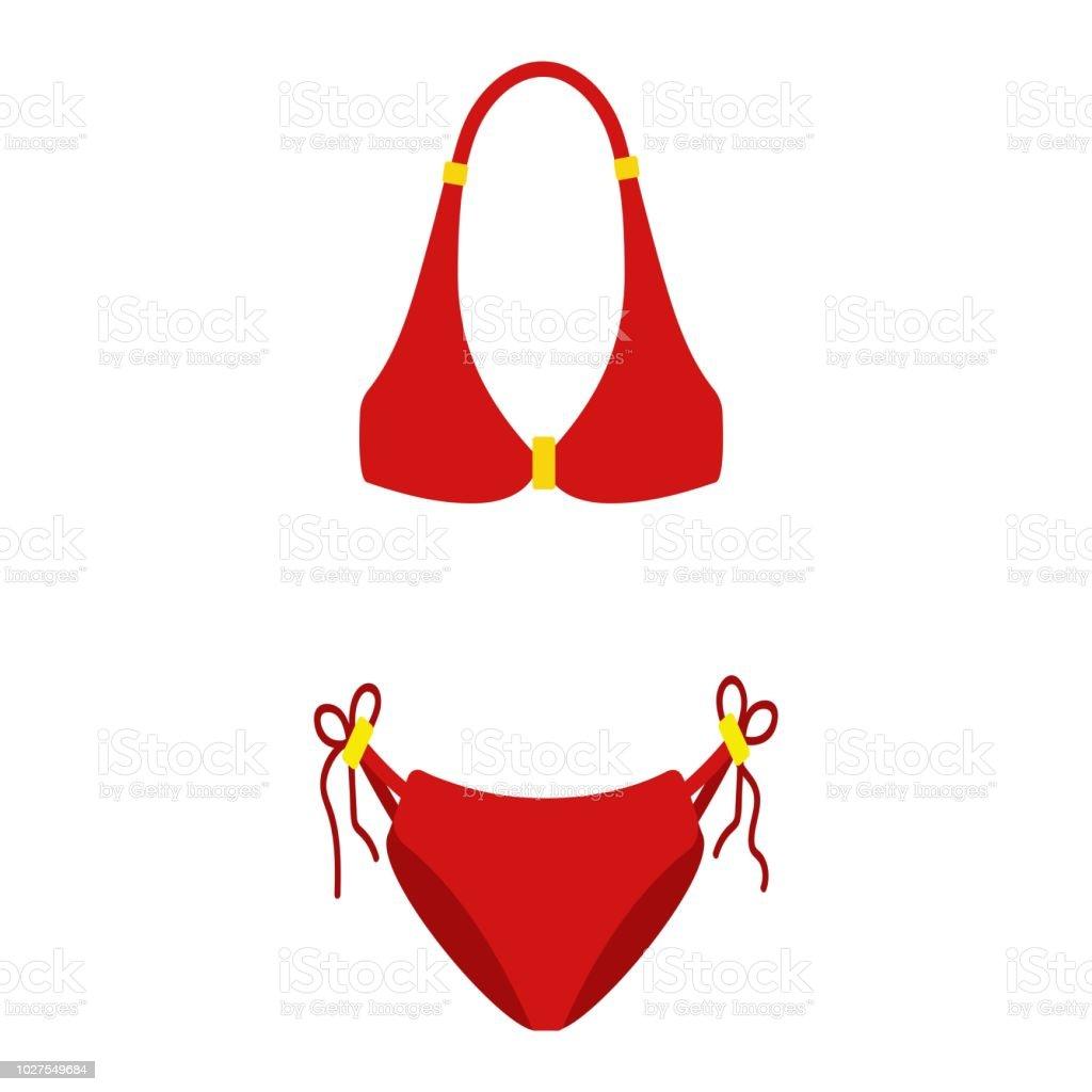 Badpak Mode.Rode Vrouwen Badpak Geisoleerd Op Een Witte Achtergrond Bikini