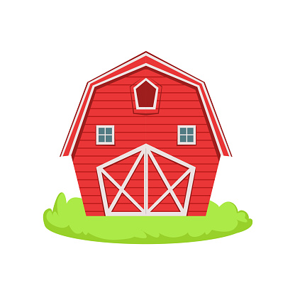Red Wooden Barn Cartoon Farm Related Element On Patch Of Green Grass