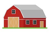 Red wooden barn in flat style. Agricultural building.