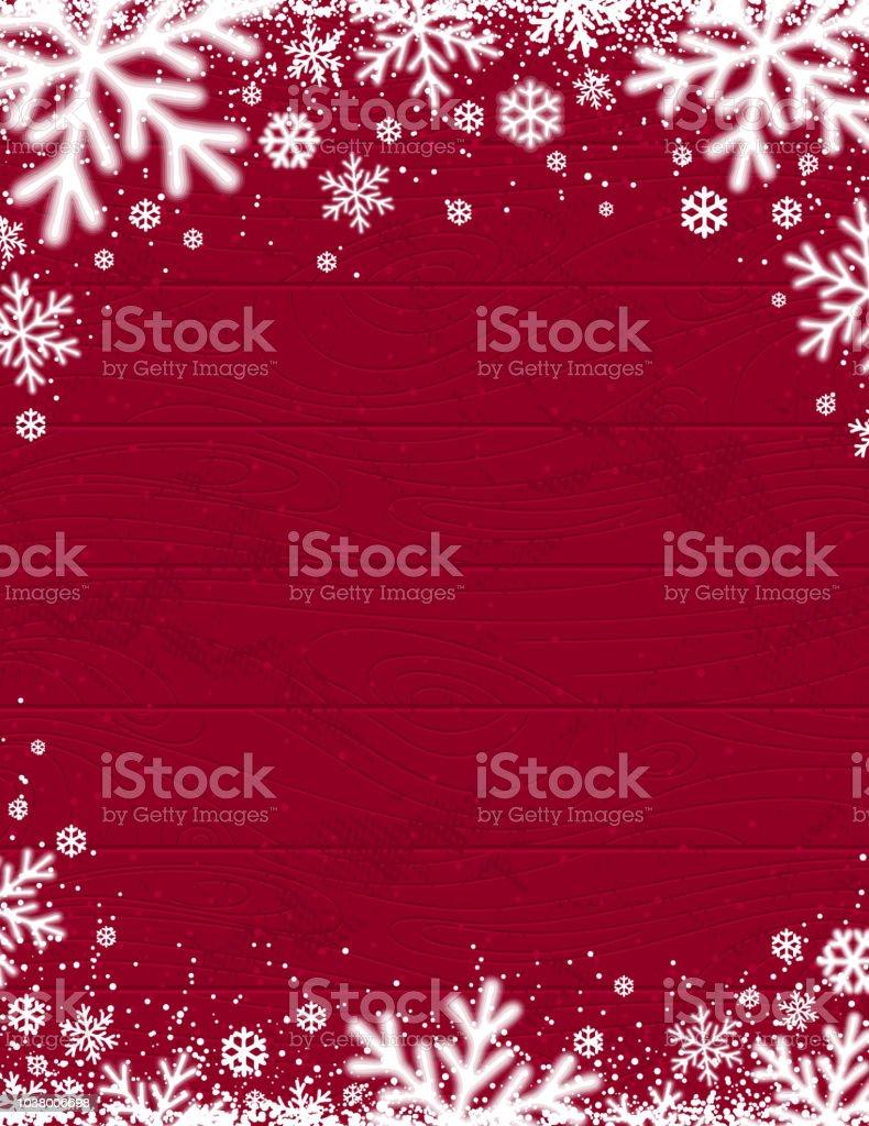 Rot aus Holz Weihnachten Hintergrund mit verschwommenen weißen Schneeflocken, Vektor-illustration - Lizenzfrei Alt Vektorgrafik