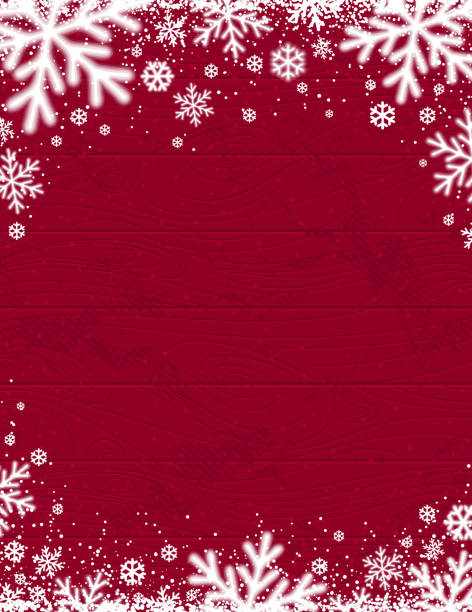 rot aus holz weihnachten hintergrund mit verschwommenen weißen schneeflocken, vektor-illustration - christmas background stock-grafiken, -clipart, -cartoons und -symbole