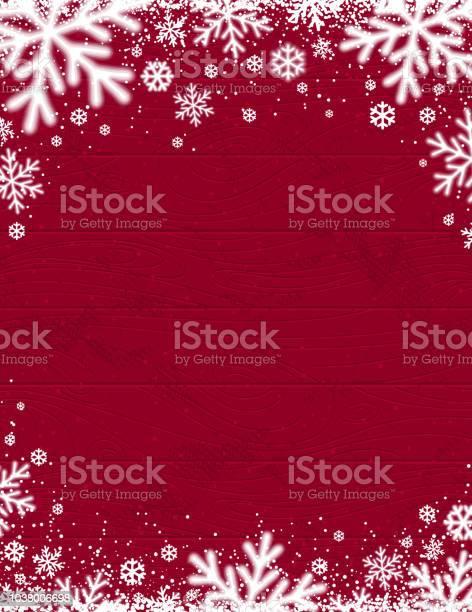 Rot Aus Holz Weihnachten Hintergrund Mit Verschwommenen Weißen Schneeflocken Vektorillustration Stock Vektor Art und mehr Bilder von Alt