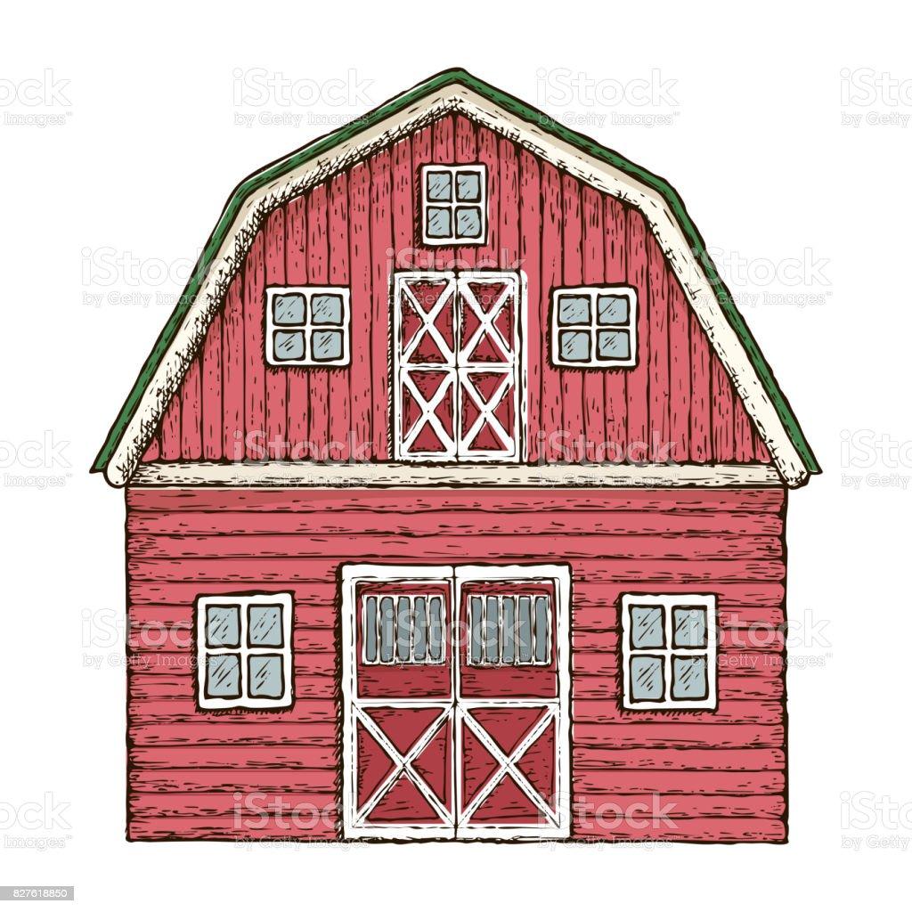 Red wooden farming barn vector art illustration