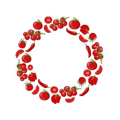 Red wreath from tomato, bell pepper, chilli pepper, cherry tomato. Fresh vegetables. Organic food. Vector illustration on white background.