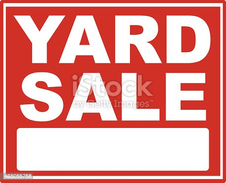 istock Red yard sale sign with white font 465055758