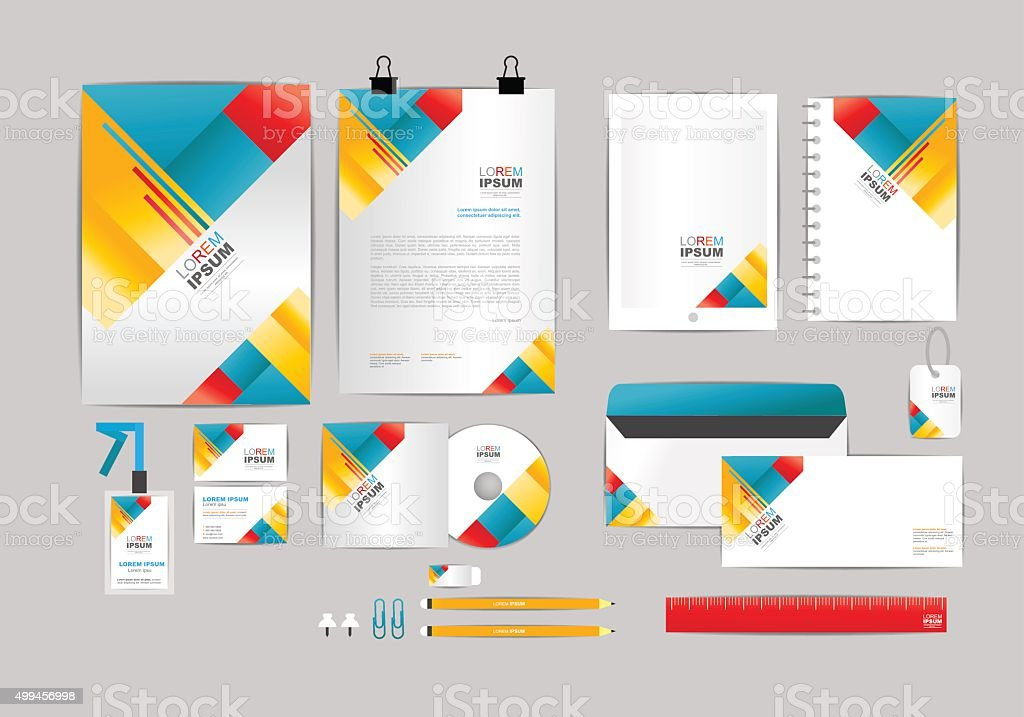 red yellow and blue corporate identity template stock vector art, Powerpoint templates