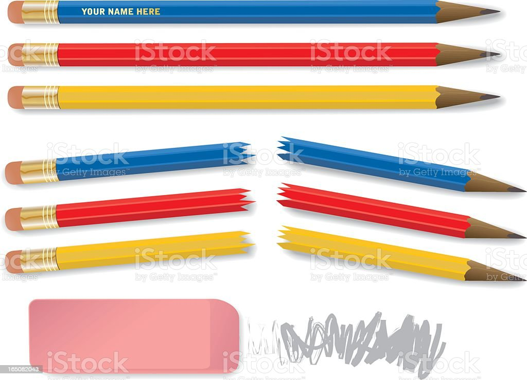 Red, yellow, and blue pencils snapped in half royalty-free stock vector art