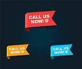 istock Red, yellow and blue vector banner isolated on dark background. Ribbon call now. This element is well adapted for web design 1321758127
