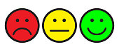 Red, yellow and green smileys. Face symbols. Flat stile. Vector illustration.