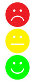 Red, yellow and green smileys. Face symbols. Traffic light. Flat stile. Vector illustration.