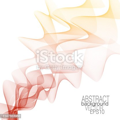 525031832 istock photo Red, yellow smoky waveform. Art line design. Pastel wave pattern, soft gradient. Abstract flowing waves. Vector squiggle lines, modern background. Colored ribbon imitation. EPS10 illustration 1147553952