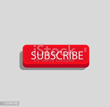 Red YouTube Subscribe Button In Flat Design