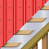 Red zinc metal roofing cover and layers