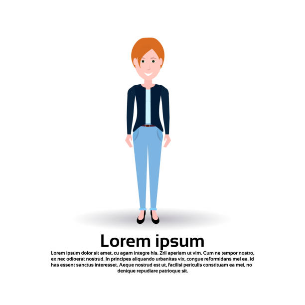 redhair woman character female template for design animation on white background full length copy space flat - redhead stock illustrations, clip art, cartoons, & icons