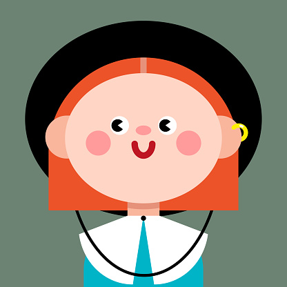 A red-haired girl in a black hat. Dressed in a dress with a white collar. Cute comic character. Abstract cartoon style, vector illustration, isolate. International Women's Day, March 8. A feminist.