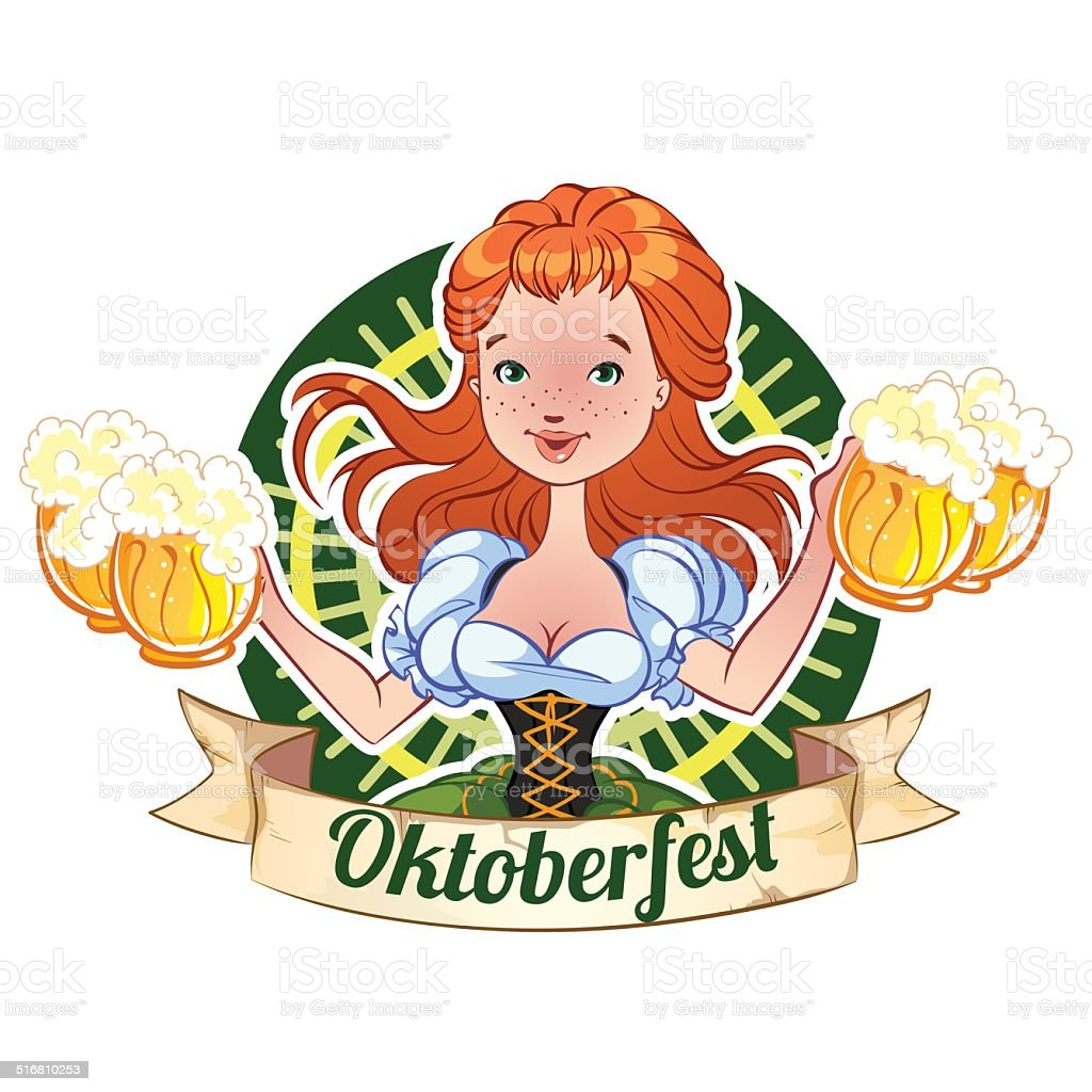 Red-haired girl with beer mugs for Oktoberfest vector art illustration