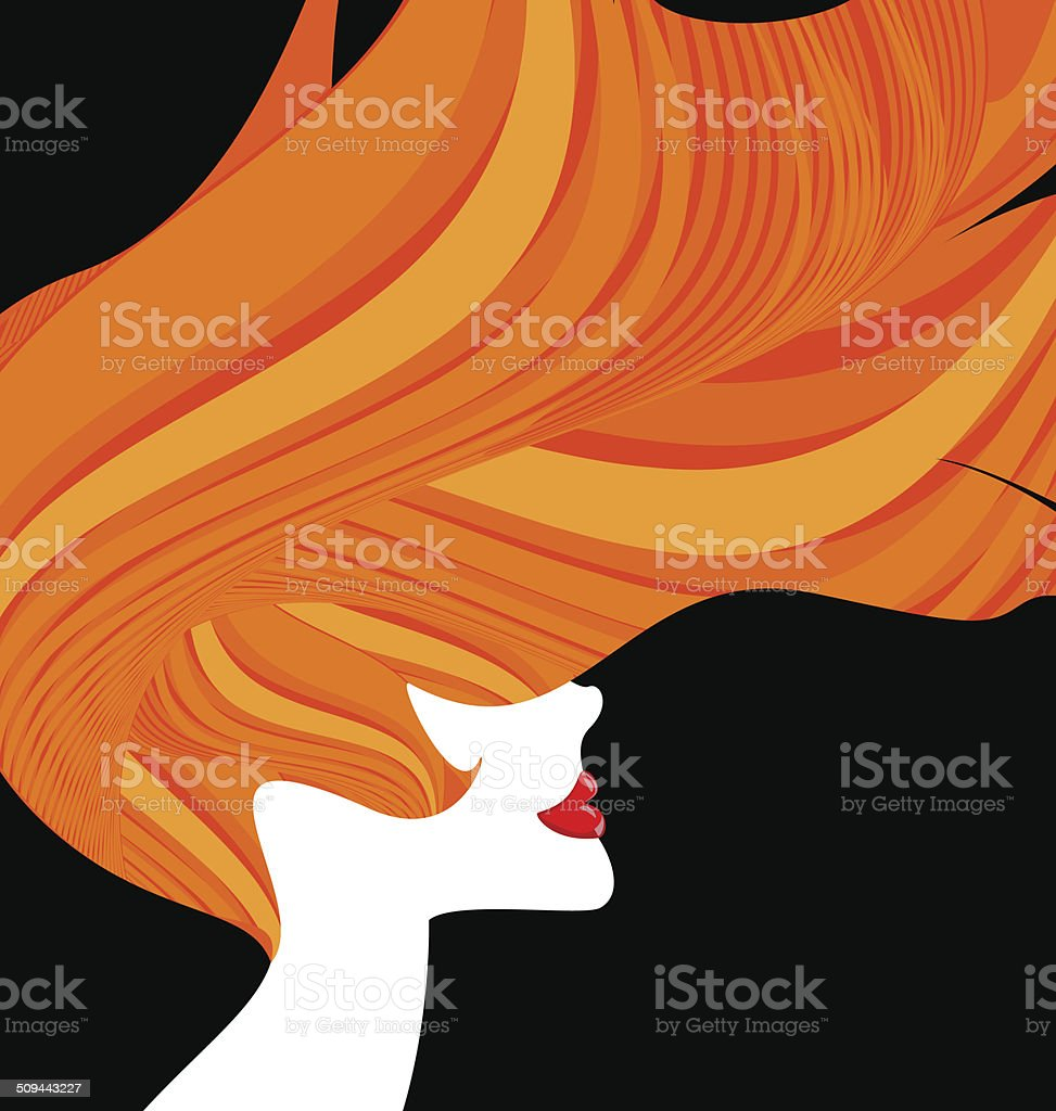 red-haired head of a woman vector art illustration