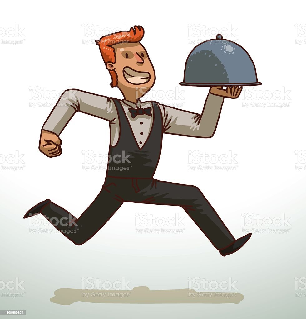 Red-haired waiter with a cloche vector art illustration