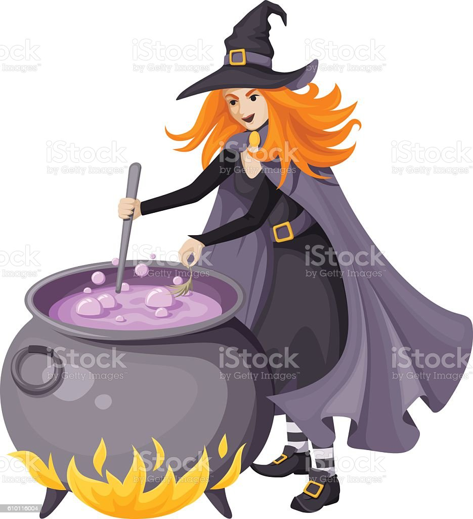Red-haired witch making magical potion in a cauldron. Vector illustration. vector art illustration