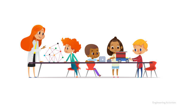 redhead female teacher and school children standing and sitting around table, building and programming robotic car during engineering lesson. vector illustration for banner, poster, advertisement. - adults only stock illustrations