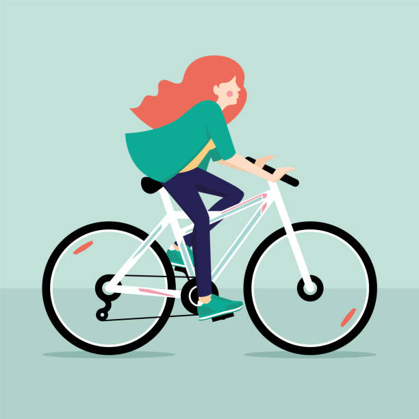 redhead girl riding bicycle. vector illustration - redhead stock illustrations, clip art, cartoons, & icons