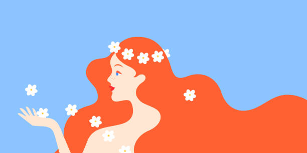 redhead woman with daisies - redhead stock illustrations, clip art, cartoons, & icons
