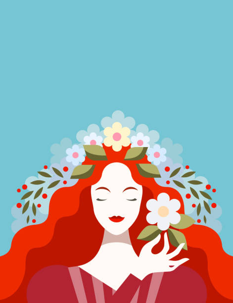 redhead woman with flowers - redhead stock illustrations, clip art, cartoons, & icons