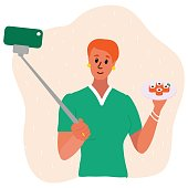 redheaded woman food blogger making photo selfie with with sishi susi set for blog. Cute girl with smartphone camera. Social media Vector cartoon illustration