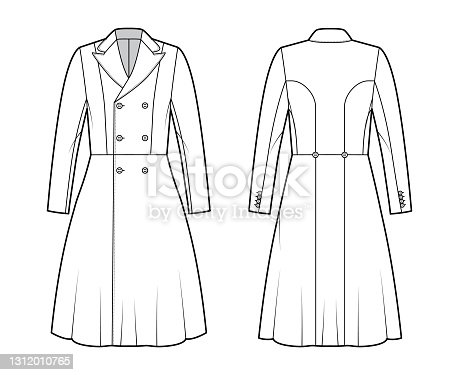 istock Redingote coat technical fashion illustration with double breasted, fitted, long sleeves, peak lapel collar, knee length 1312010765