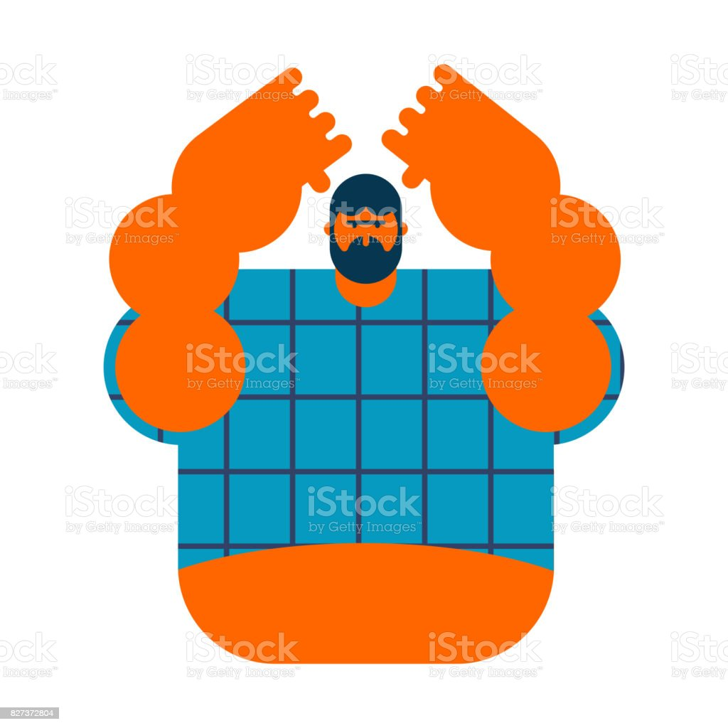 redneck isolated. Angry bearded man in shirt. Aggressive guy vector art illustration