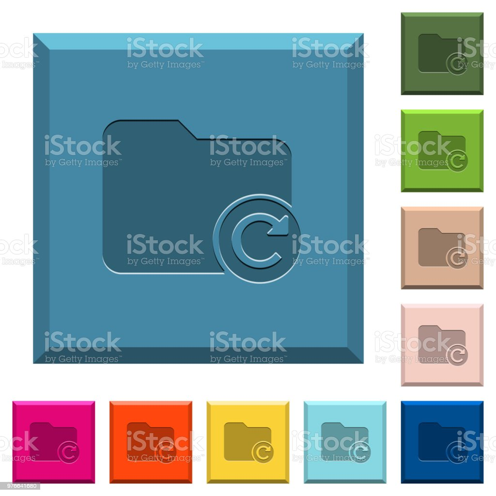 Redo directory last operation engraved icons on edged square buttons vector art illustration