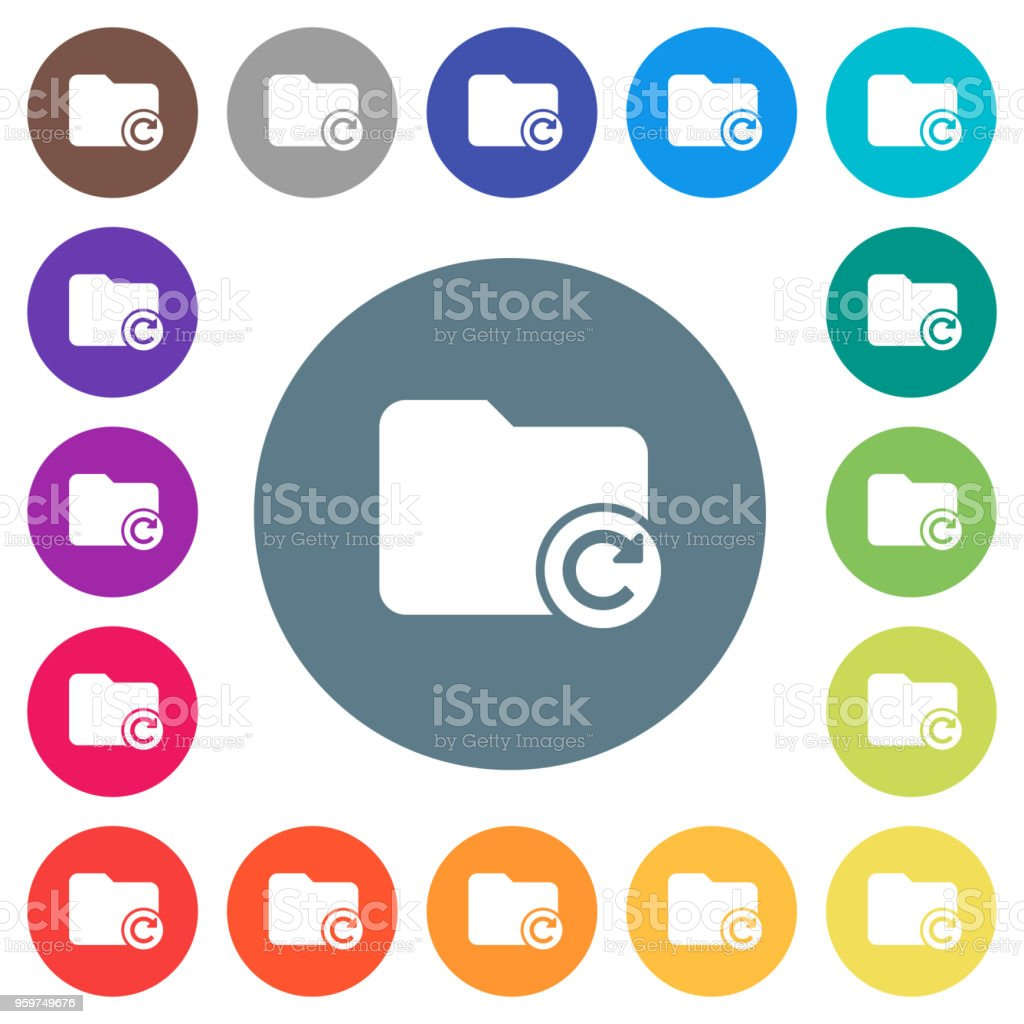 Redo directory last operation flat white icons on round color backgrounds vector art illustration