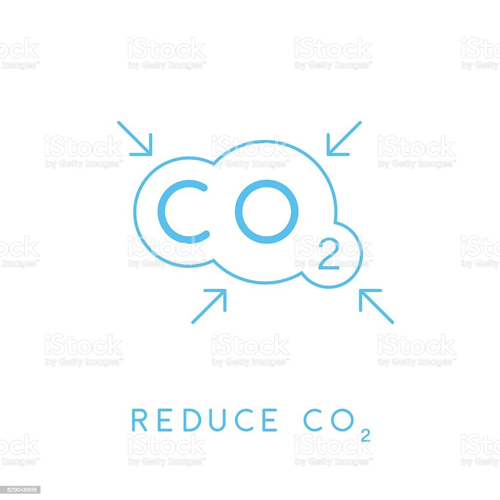 Reduce carbon CO2 emissions concept icon with cloud. Vector illustration. vector art illustration