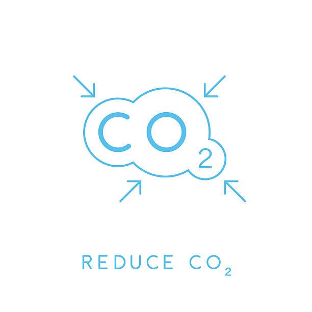 bildbanksillustrationer, clip art samt tecknat material och ikoner med reduce carbon co2 emissions concept icon with cloud. vector illustration. - co2