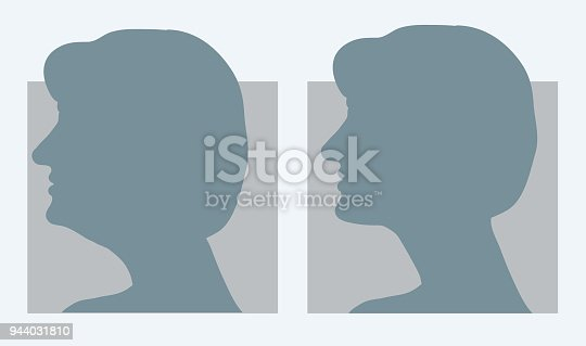 Reduce double chin. Get rid of face and neck fat concept. Vector illustration for beauty or plastic surgery infographic, before and after. Silhouettes of female head, side view. Fat and slim jaw line.